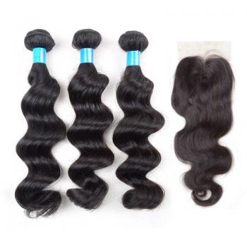 lace closure,100 virgin hair,loose Wave,3 Bundles Human Virgin Hair,human hair,human hair bundle