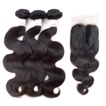 Malaysian Body wave,100% Human Hair,lace closure