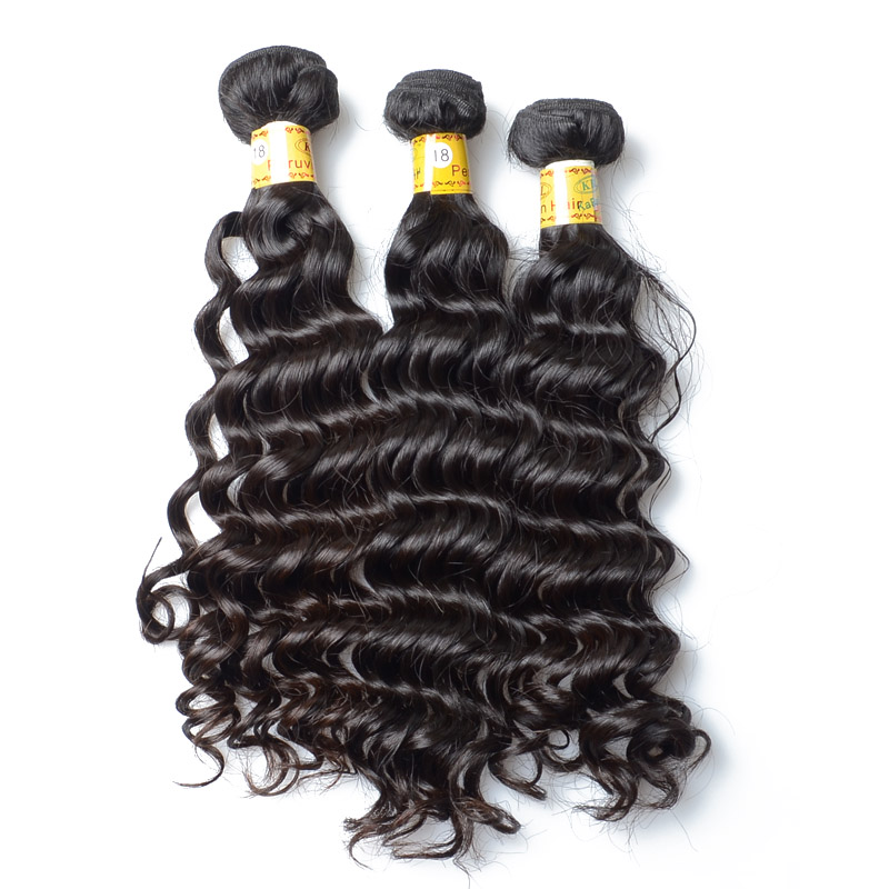 No Chemical Peruvian Bundle Hair Deep Wave Human Hair For